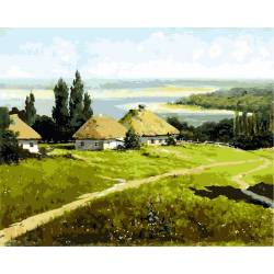 Украинский пейзаж с хатами