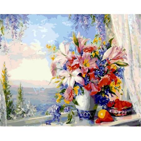 Картина по номерам «Лилии на окне», модель VP330