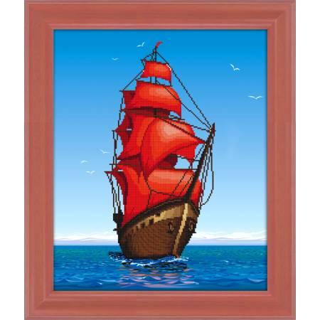 Картина по номерам На алых парусах - рисование камнями (5D-069), Lasko