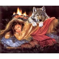 Девушка и волк греются