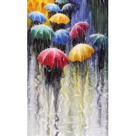 Под дождем яркие зонты