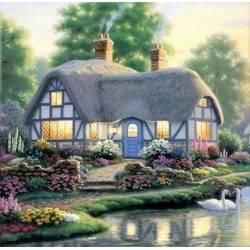 Алмазная вышивка - Дом у пруда с лебедями