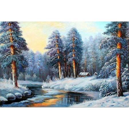 Алмазная вышивка - Лес зимой