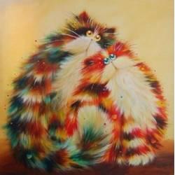 Алмазная вышивка - Семья рыжих котов