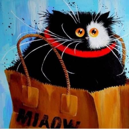 Картина по номерам Алмазная вышивка - Кот в сумке (FS222), DIY