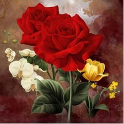 Алмазная вышивка - Богатые розы