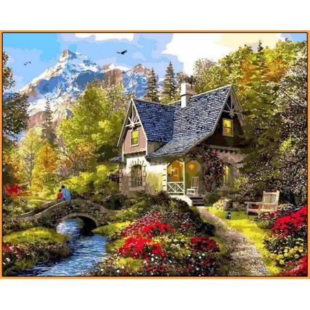 Картина по номерам Вечер в Альпах Babylon  - в раме, цветной холст NB1154R, Babylon Premium