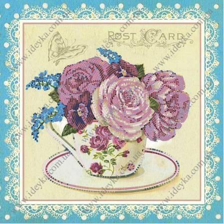 «Вышивка бисером на подрамнике - Розы шебби шик», модель ВБ1030