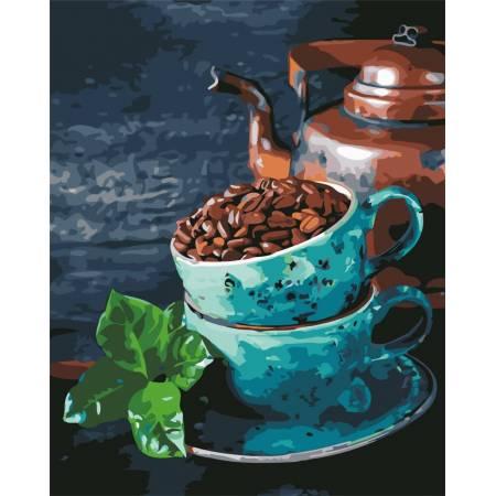 Картина по номерам - Натюрморт кофе и мята