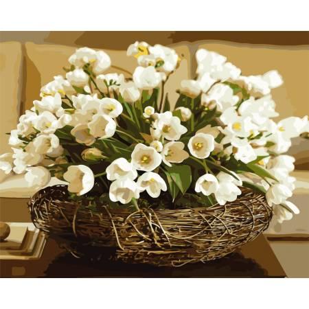 Картина по номерам Белые тюльпаны  AS0682, ArtStory