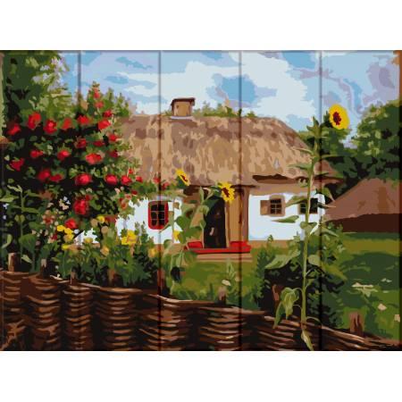 "Картина по номерам На дереве ""Украинский домик"" ASW103, ArtStory"