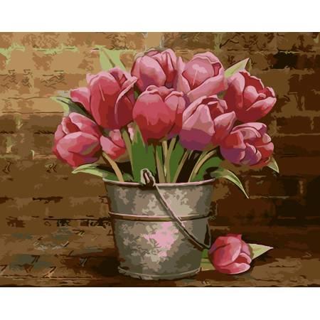 Картина по номерам «Букет розовых тюльпанов», модель AS0009