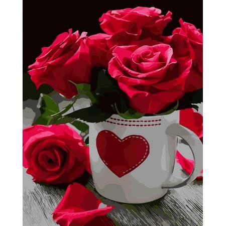 Картина по номерам «Розовое сердце», модель AS0020