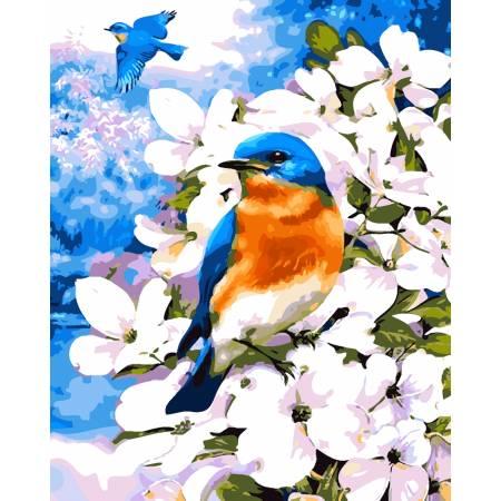 Картина по номерам «Птичка в цветах», модель AS0052