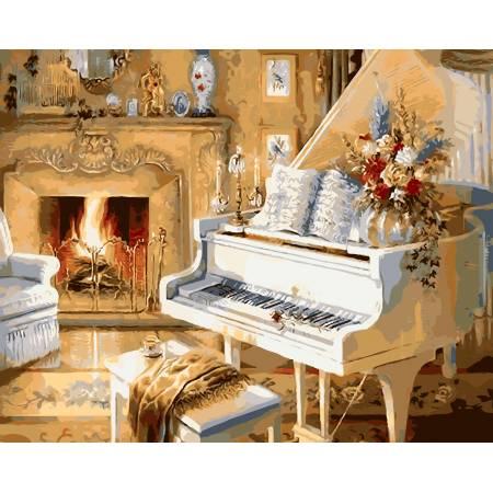 Картина по номерам Белый рояль у камина AS0101, ArtStory