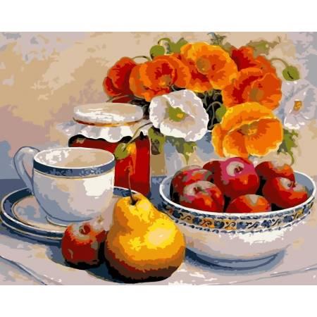 Картина по номерам «Натюрморт с маками и фруктами», модель AS0119