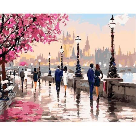 Картина по номерам «Прогулка цветущей набережной», модель AS0135