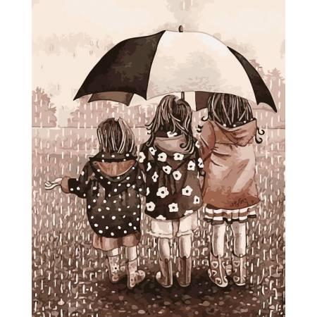 Картина по номерам «Друзья под зонтом», модель AS0183