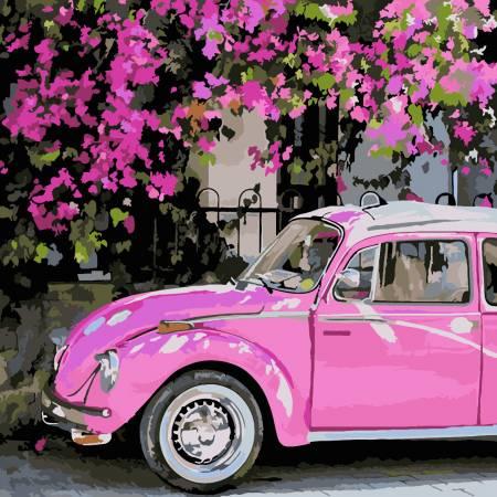 Картина по номерам «Розовое авто», модель AS0224