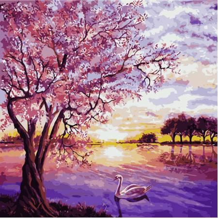 Картина по номерам «Закат в розовых тонах», модель Q2073