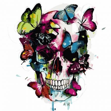 Картина по номерам «Красочный череп - Без Коробки», модель AS0236