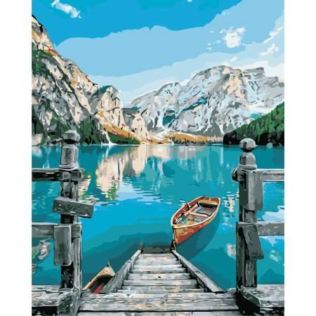 Картина по номерам «Голубое озеро в горах», модель AS0383