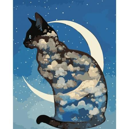 Картина по номерам «Лунный кот», модель AS0403
