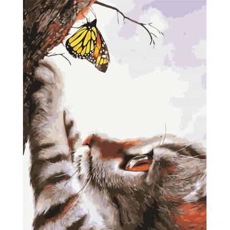 Картина по номерам Кот и бабочка AS0413, ArtStory
