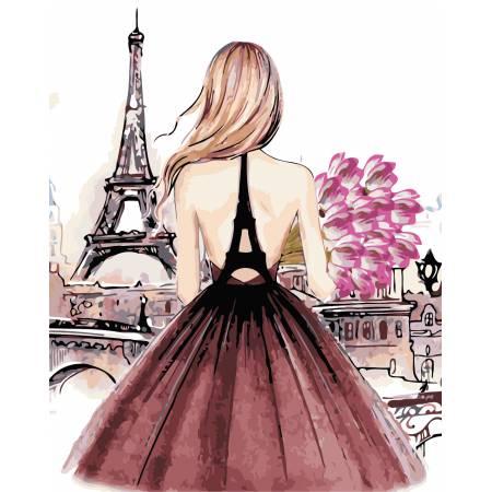 Картина по номерам «Красотка в Париже», модель AS0442