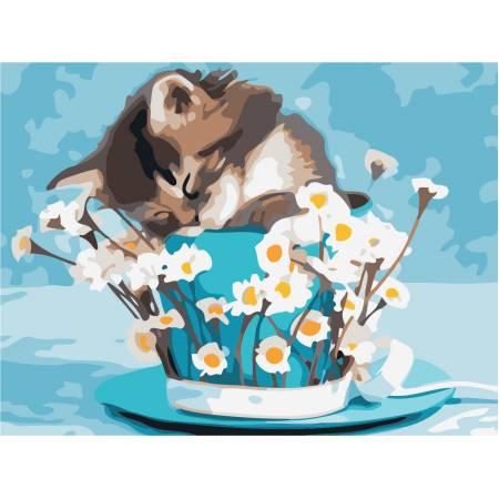 Картина по номерам «Котенок с ромашками», модель AS0471