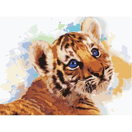 Картина по номерам «Милый тигренок», модель AS0472