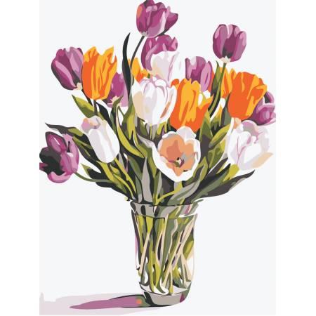 Картина по номерам «Букет тюльпанов в вазе», модель AS0488