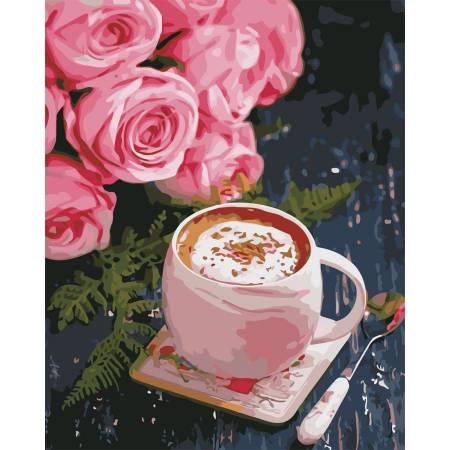 Картина по номерам Розы и латте AS0668, ArtStory