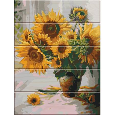 """Картина по номерам Картина по номерам на дереве """"Подсолнухи"""" (ASW009), ArtStory"""
