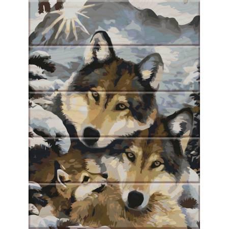 """Картина по номерам Картина по номерам на дереве """"Семья волков"""" (ASW013), ArtStory"""