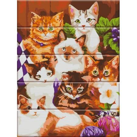 """Картина по номерам Картина по номерам на дереве """"Котята"""" (ASW017), ArtStory"""