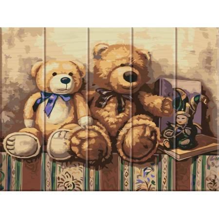 """Картина по номерам Картина по номерам на дереве """"Медвежата"""" (ASW020), ArtStory"""