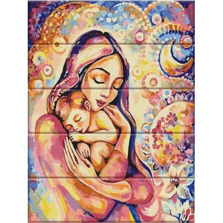 "Картина по номерам Картина по номерам на дереве ""Счастье материнства"" (ASW034), ArtStory"
