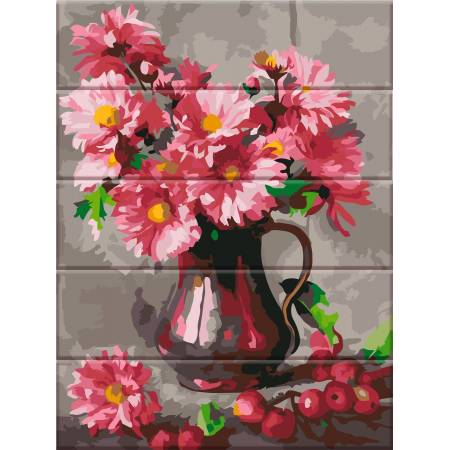 "Картина по номерам На дереве ""Хризантемы"" ASW045, ArtStory"
