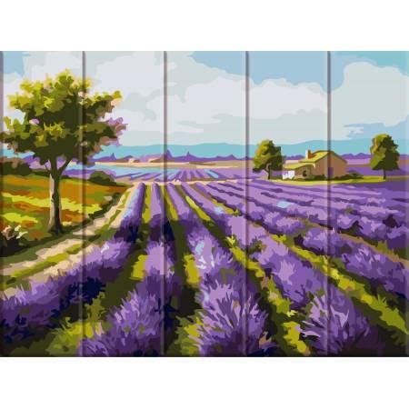 """Картина по номерам На дереве """"Лавандовые поля"""" ASW070, ArtStory"""