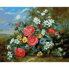 Пионы и белые цветы