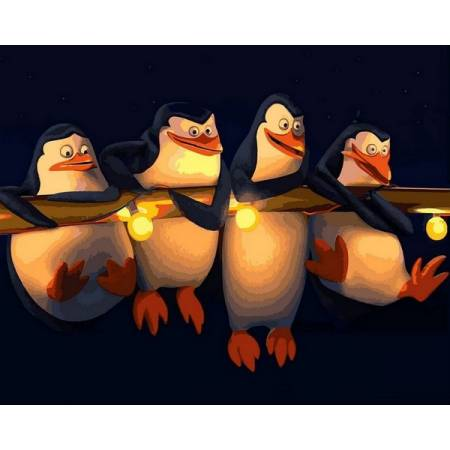 Картина по номерам Пингвины Мадагаскар Q2186, Mariposa