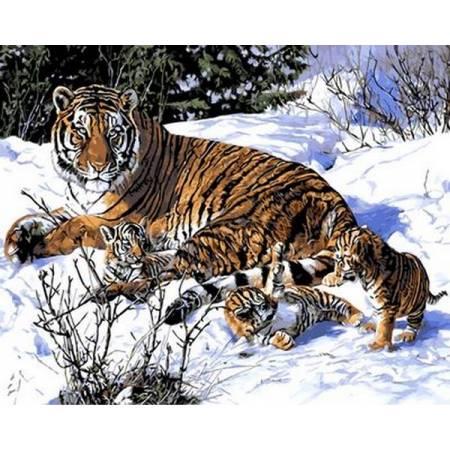 Картина по номерам Кошачьи игры на снегу Q490, Mariposa