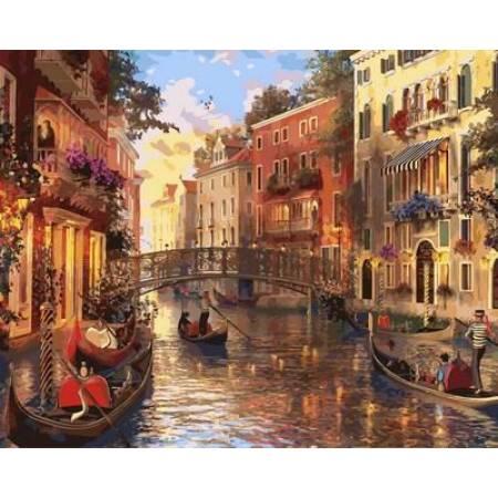 Картина по номерам Прекрасный закат в Венеции QS2115, Mariposa