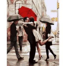 Поцелуй под красным зонтом