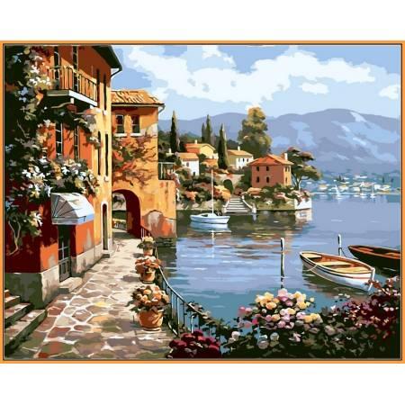 Картина по номерам Летняя набережная,, цветной холст NB012R, Babylon Premium