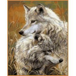 Степные волки, цветной холст