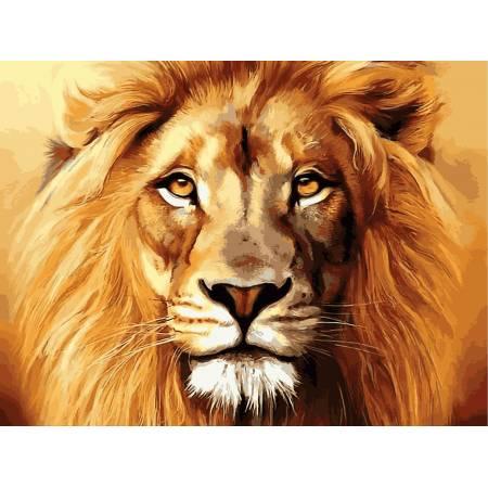 Картина по номерам Гордый лев,, цветной холст NB100, Babylon Premium