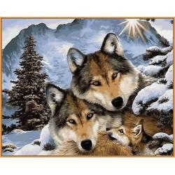 Семья волков, цветной холст