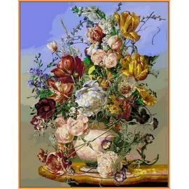 Жёлтые тюльпаны и пионы, цветной холст